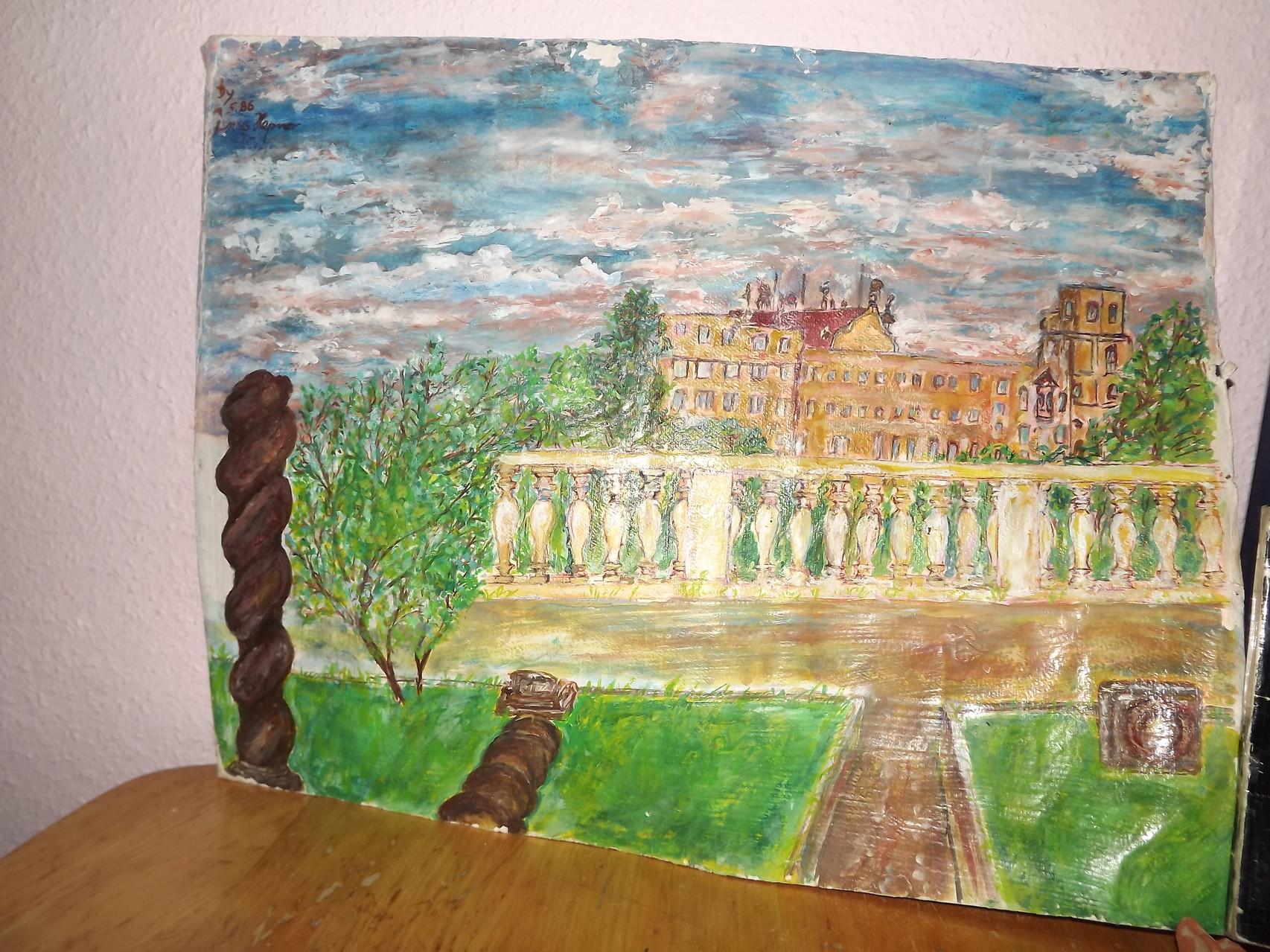 Ansicht apres la nature von der hinteren Parkterrasse des Heidelberger Schloss. Oel auf Papier von Janis Sinaji  VB > 5.555€