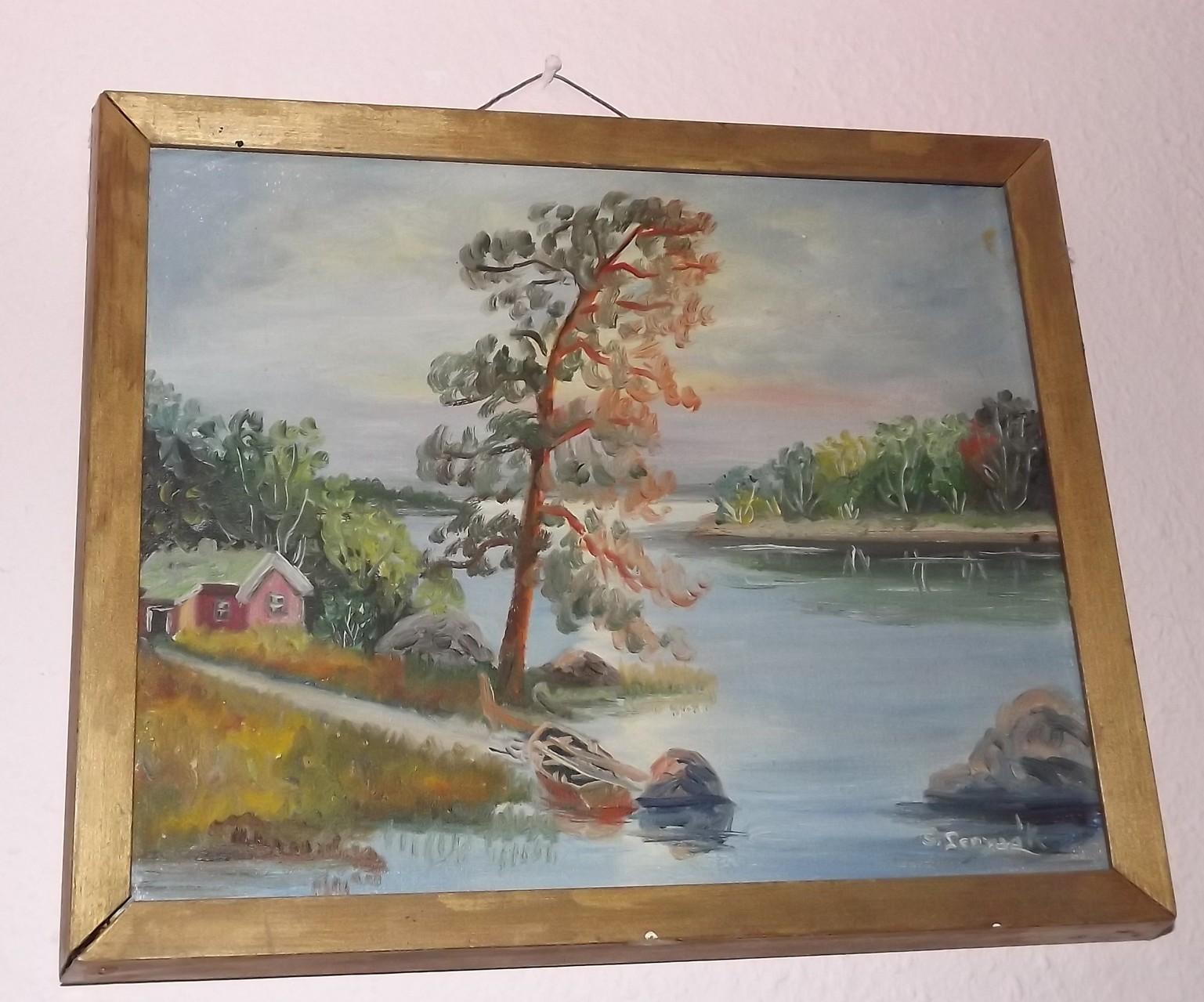"""Oelbild von Schwedischer Malerin aus den 1940-er Jahren: """"Idylle am See in nordischer Sommernacht"""". Preis Verhandl.Sache!"""