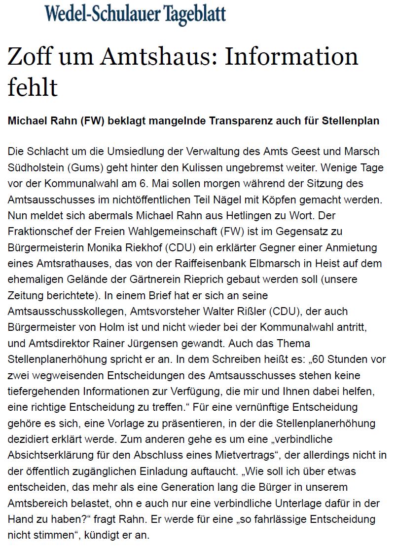Wedel-Schulauer-Tageblatt vom 25.04.2018