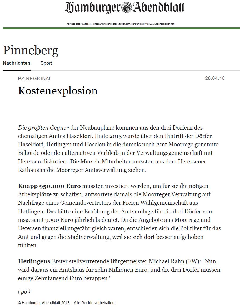 Hamburger Abendblatt (Pinneberger Zeitung) vom 26.04.2018