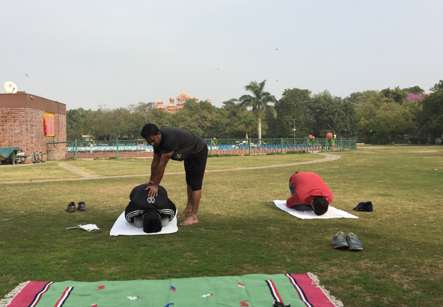 "Impressions from Yogaclass in a park in Jaipur's beautiful scenery behind while ""Golden Triangle"" Trip in North India (Delhi, Agra, Jaipur)"