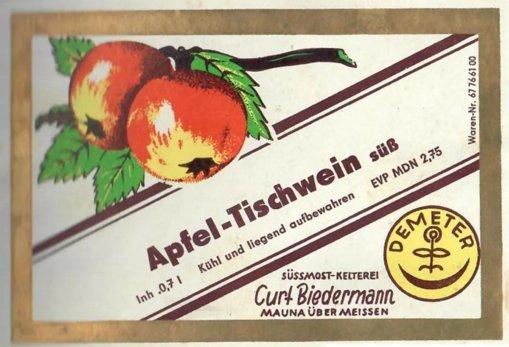 Etikett des Biedermannschen Apfelweins, Quelle: Familie Biedermann, Mauna