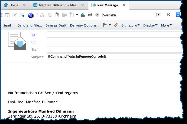 Neue Mail im Notes Client - @Command([AdminRemoteConsole]) im Betreff