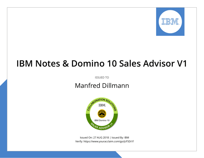 Zertifikat: IBM Notes and Domino 10 Sales Advisor V1
