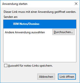 Browser (hier Firefox) fragt nach, ob der Link mit dem Notes Client geöffnet werden soll.