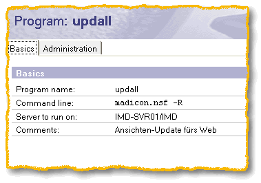 Programmdokument, UpdAll -R für eine bestimmte Datenbank