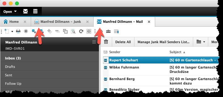 """Maildatenbank in Standard- und """"Basic""""-Optik gleichzeitig geöffnet"""