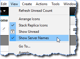 "Option ""Show Server Names"" im Menü ""View"""
