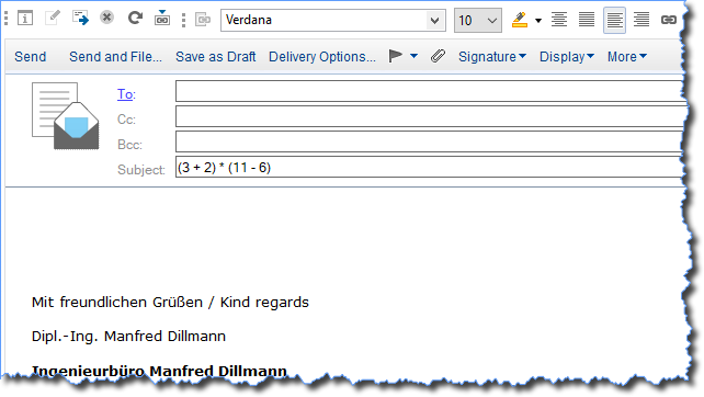 """Notes Client mit einer neuen Mail - Eingabe einer Formel im Feld """"Subject"""""""