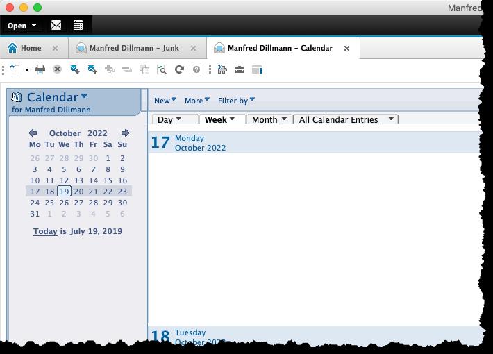 """Im Standard-Client geöffneter Kalender mit """"Basic""""-Optik"""