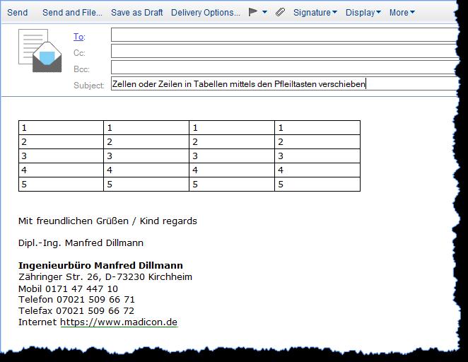 Eine Tabelle wurde einer neuen Mail im Textbereich (Body) hinzugefügt