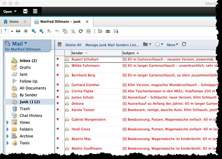 """Im Standard-Client geöffnete Maildatenbank mit """"Basic""""-Optik"""