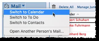 Wechsel zu Kalender, Kontakte oder Aufgaben