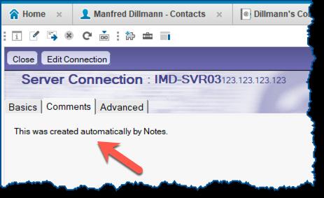 Hinweis auf das automatisch erstellte Verbindungsdokument