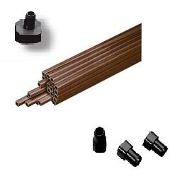 Tube carré - Pour la fixation des sucettes à lapin -  Tube 25 mm x 2 m - bouchon 10 ou 20 mm - ressort fixation