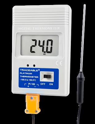 Termómetro digital con sonda de acero inoxidable con sensor RTD de platino y certificado trazable a NIST 4230