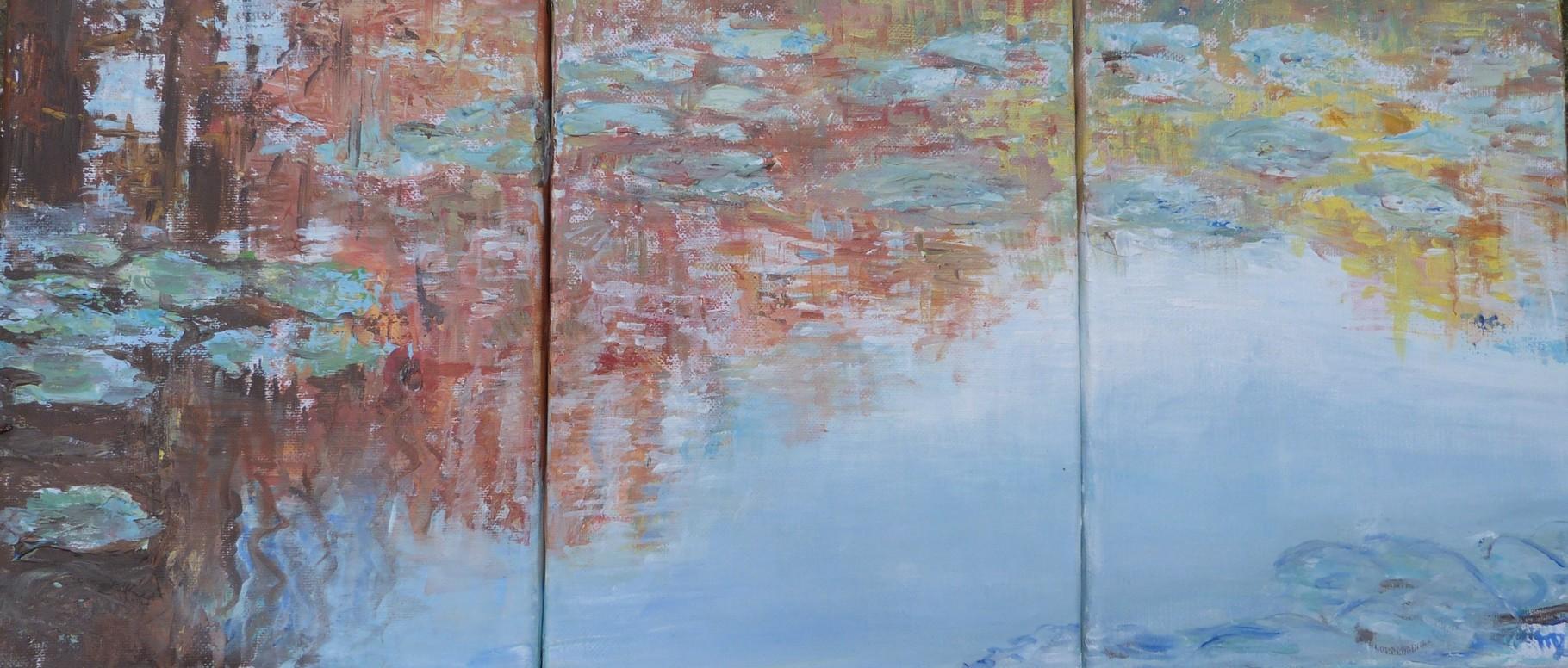 Réflets, 54x24 Triptyque - Acrylique