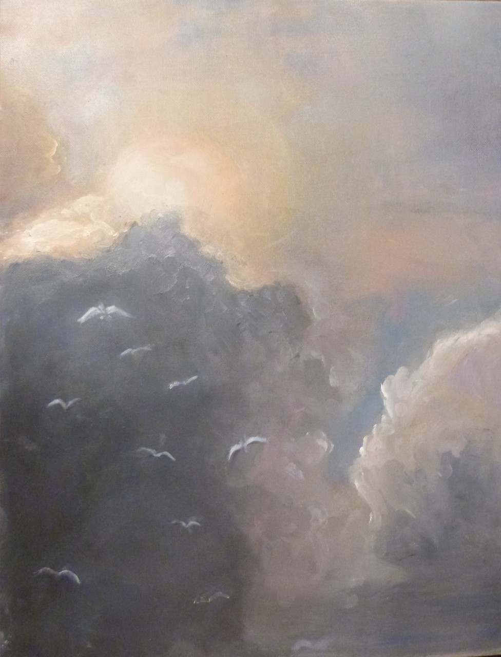 Ciel, 40x33 Huile