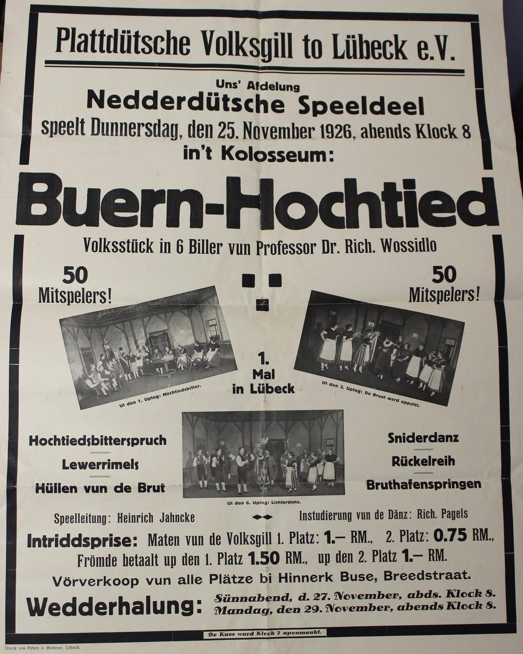 """Das Theaterstück """"Buern-Hochtied"""" stammt aus der Hand Wossidlos."""