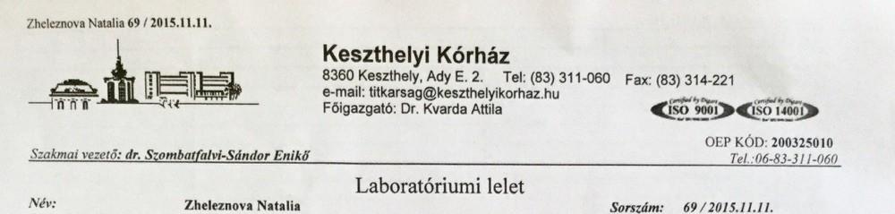 Фрагмент лабораторных результатов