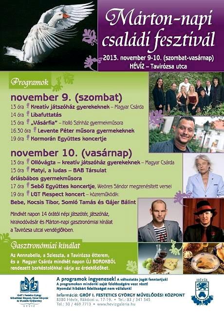Программа семейного фестиваля День Мартина в Хевизе