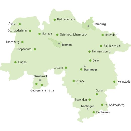 städte in niedersachsen karte Heimvolkshochschulen   Nds. LV HVHS städte in niedersachsen karte