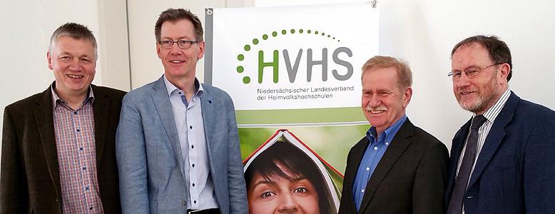 Von links: Dr. Thomas Südbeck und Dr. Jörg-C. Matzen führen jetzt den Niedersächsischen Landesverband der Heimvolkshochschulen. Gerd Schumacher und Wolfgang Borchardt traten aus Altersgründen nicht mehr zur Wahl an.
