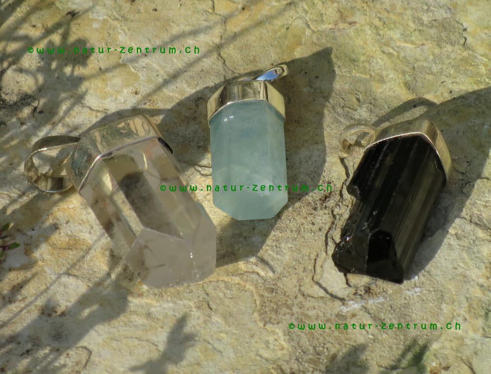 Bergkristall, Aquamarin und Turmalin schwarz mit Silberkappe