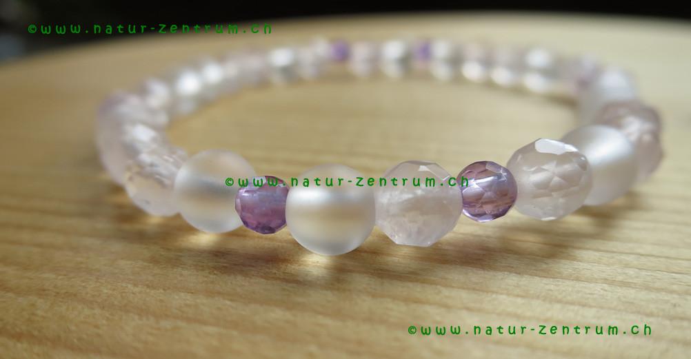 Amethyste, Cristal de roche, Quartz rose