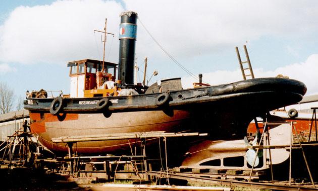 Rumpfbesichtigung im März 1989. Slg. Björn Nicolaisen