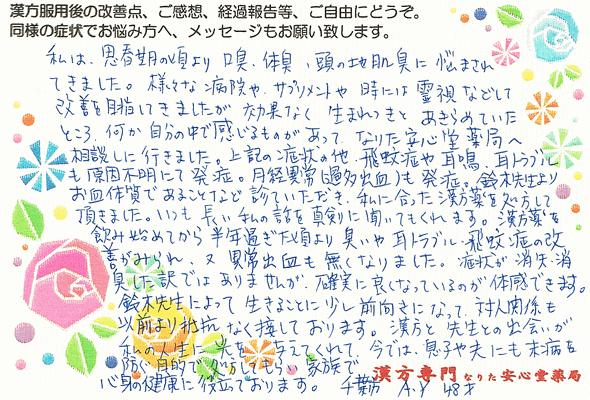 【 更年期・自律神経失調・耳鳴・不正出血・ 体臭 】(千葉市・48才・女性)