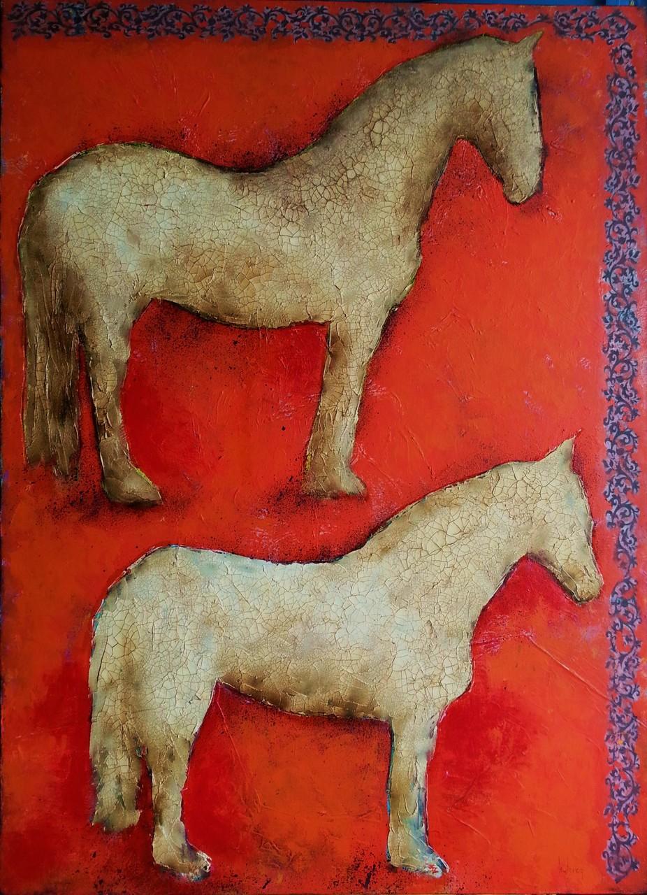 Les deux chevaux 100x73 cm
