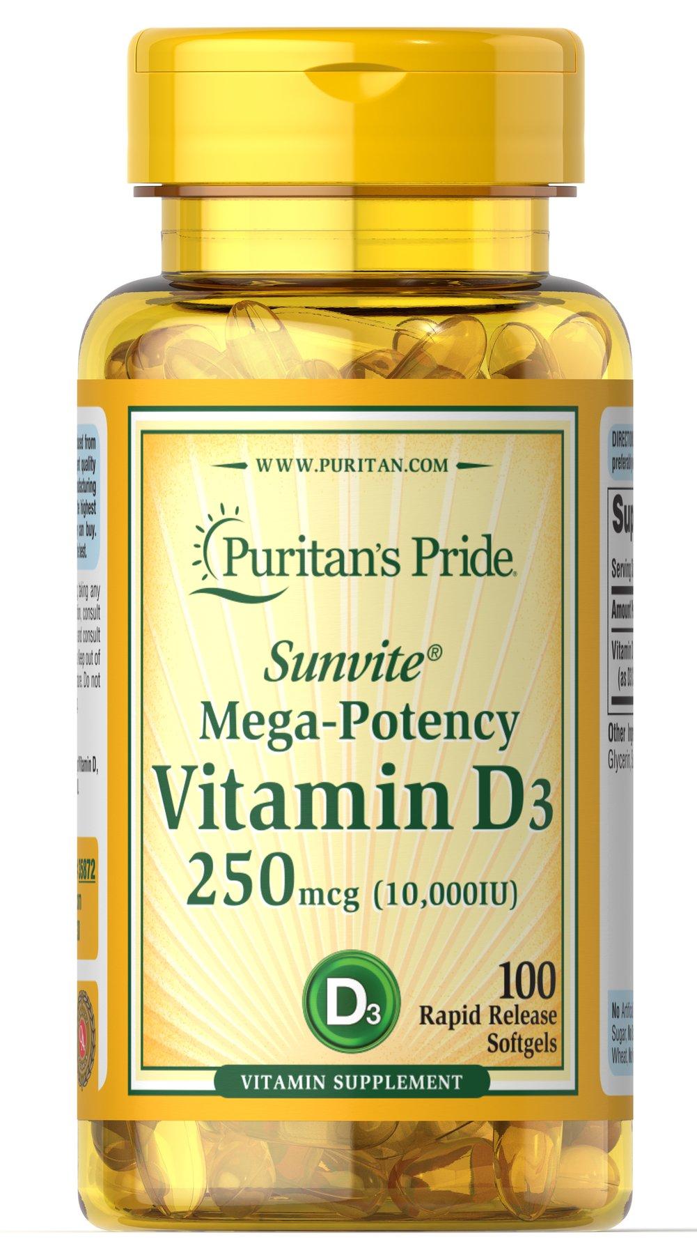 Vitamina D3 Puritan Pride - 10,000 UI