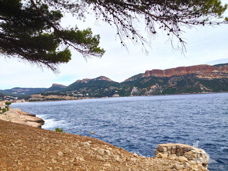"""Letzter Blick auf den """"blauen Strand""""."""