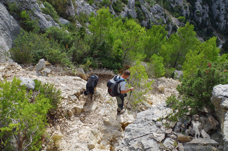 Richtig alpin wird es auf dem Weg zur Calanque d'En-Vau.