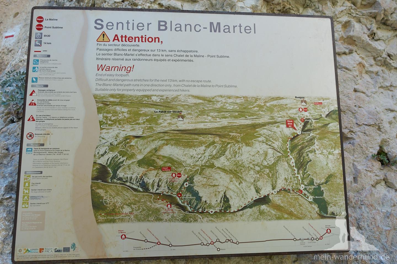 Hier finden wir auch eine gute Übersicht über den Sentier Blanc-Martel.