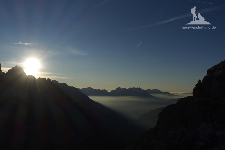 Mit Hund zu den Drei Zinnen: Sonnenaufgang am nächsten Tag.