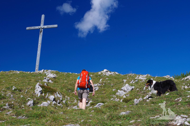 Der Weg zum Gipfelkreuz am Streicher.