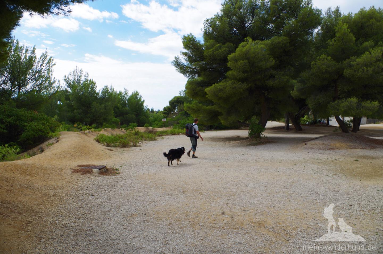 Auf breiten Wegen geht es an einem alten Steinbruch entlang.