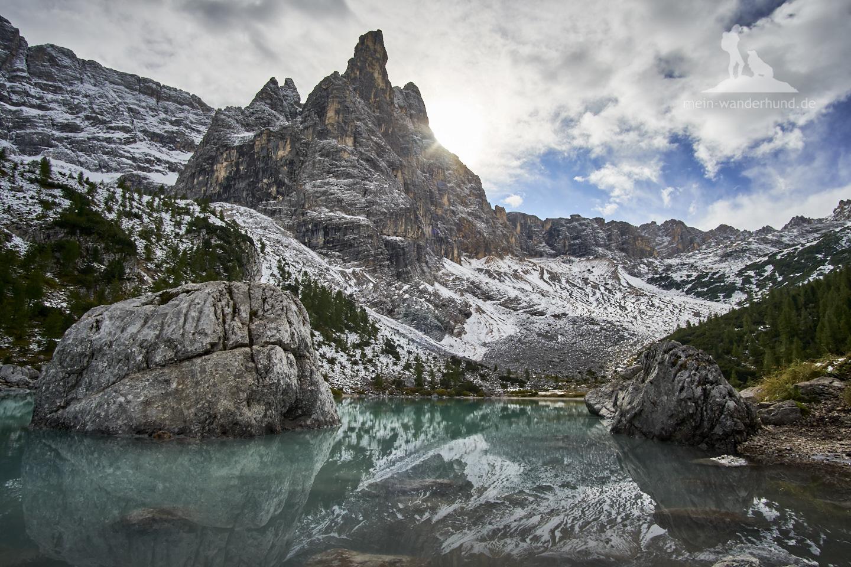 Mit Hund in den Dolomiten: Lago di Sorapiss