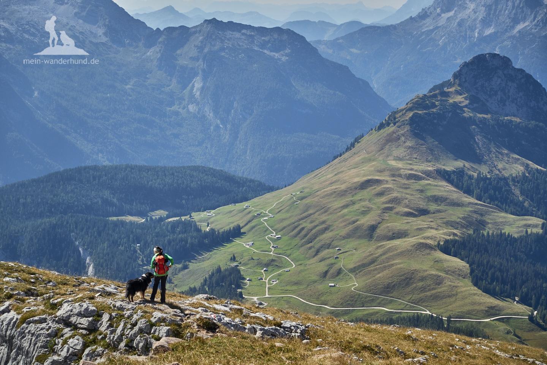 Wandern mit Hund Seehorn: Blick auf Kallbrunnalm