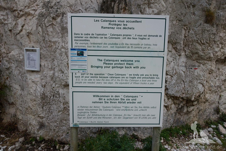 Hinweisschild an der Calanque d'En-Vau: