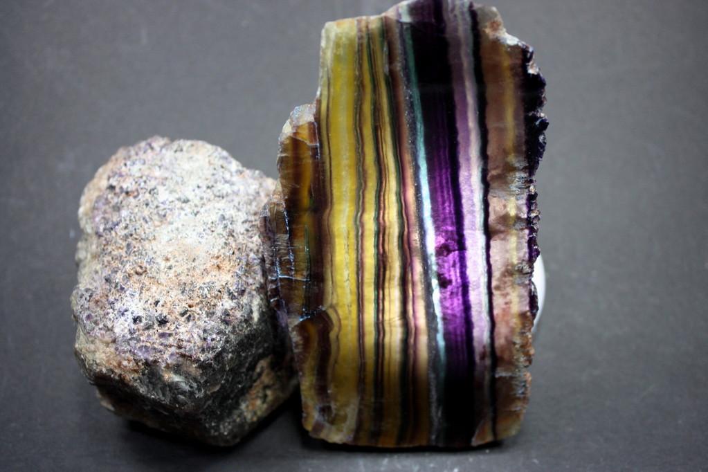 Regenbogenfluorit poliert & Rohstein