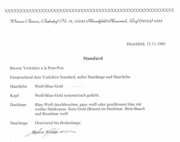 Das ist der Standard des Biewer-Yorkshires abgebildet beim Biewer-Yorkshire-Züchter Gerd Schindler in Bayern bei Augsburg der Biewer-Yorkshire-Welpen hat.