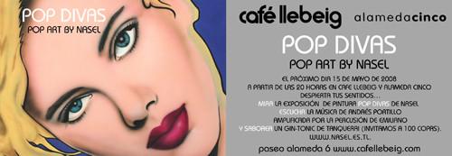 Invitación de la exposición POP DIVAS. Valencia 2008