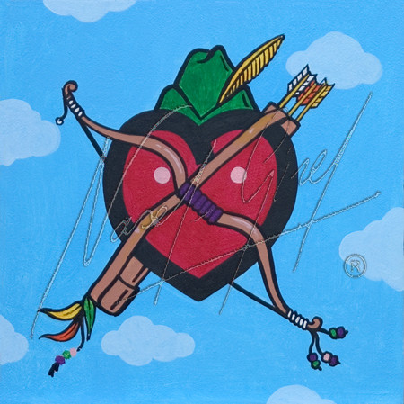 ROBIN HEART by Nasel. Acrylic on Canvas