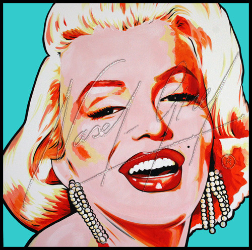 MARILYN MONROE on blue by Nasel