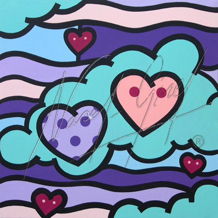 COUPLE IN THE CLOUDS by Nasel. Acrylic on canvas