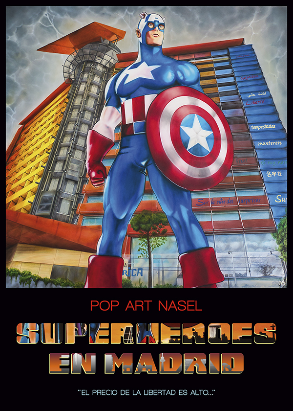 Captain America, Superheroes in Madrid by Nasel. Print - impresión
