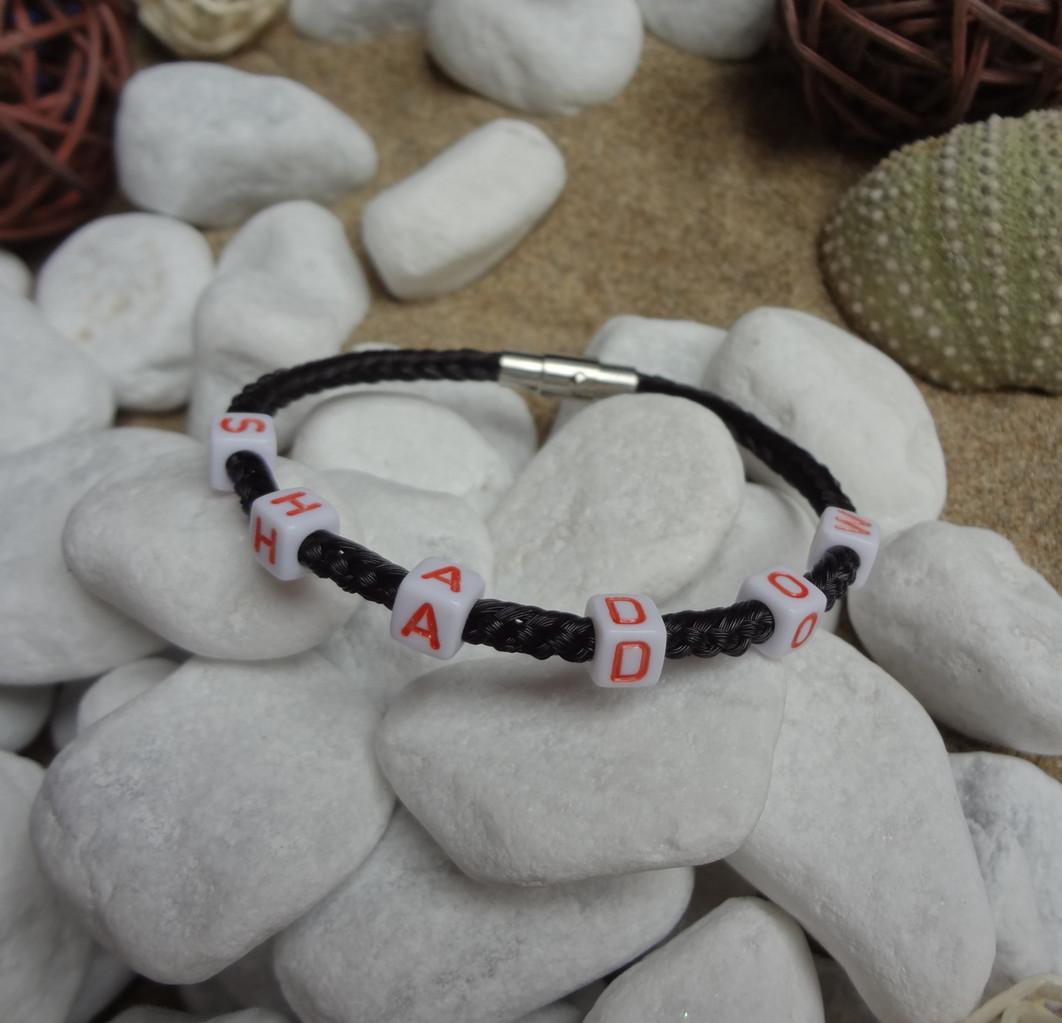 Armband aus Pferdehaar aus 6 Strängen, schwarzes Haar